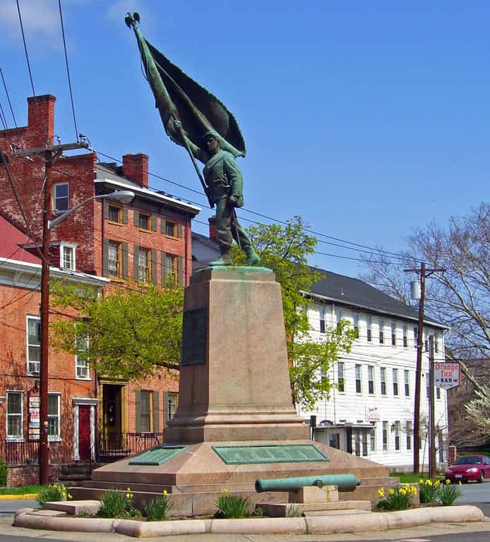 Monument to the 124th in downtown Goshen